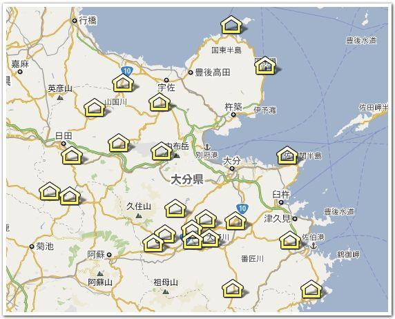 大分県にある道の駅マップ