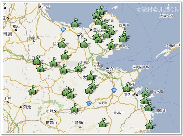 大分県の里の駅マップ33カ所